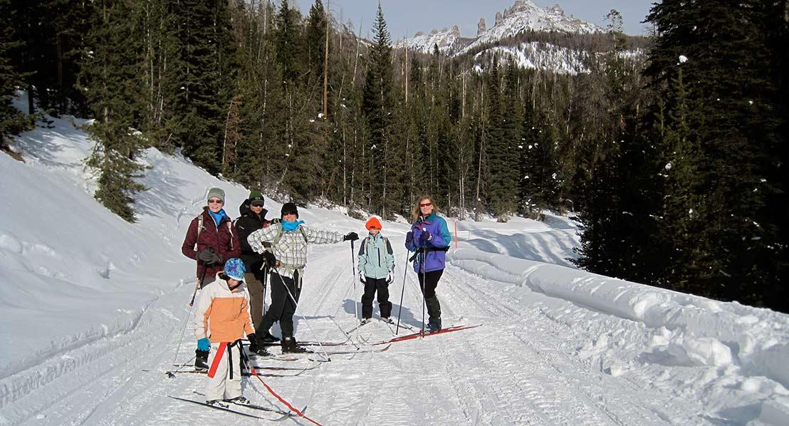 Cross country skiing Brooks Lake. Dubois.