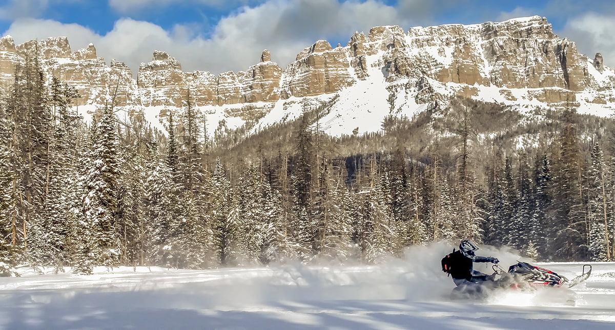 Snowmobile Togwotee Pass. Photo: Josh Milek