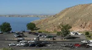Parking lot, boat launch, and dam for Boysen Reservoir