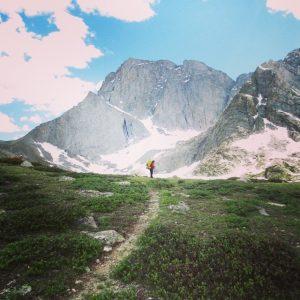 Shelli climbs toward Teple Peak. Joel Krieger photo