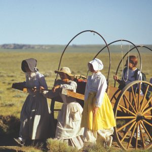 A group of people dressed in period attire pulling a Mormon handcart.