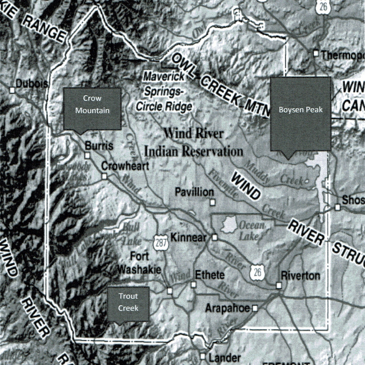 Wind River Indian Reservation map for eclipse