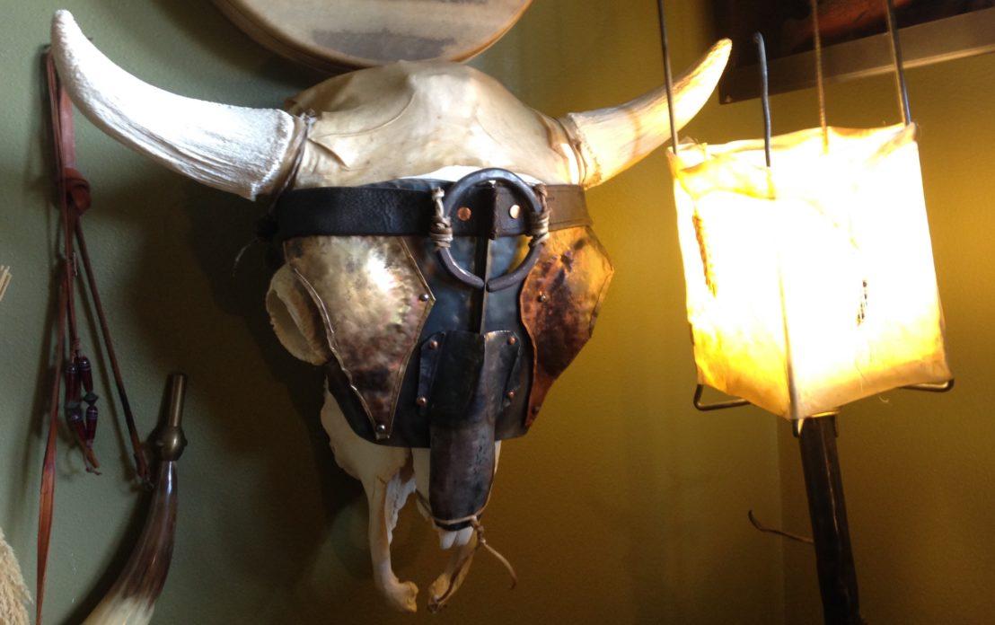 armored bison skull