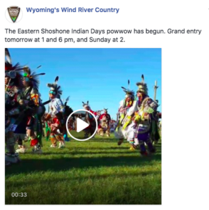 Facebook post about Shoshone Indian Days Powwow