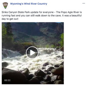 Facebook post about Sinks Canyon