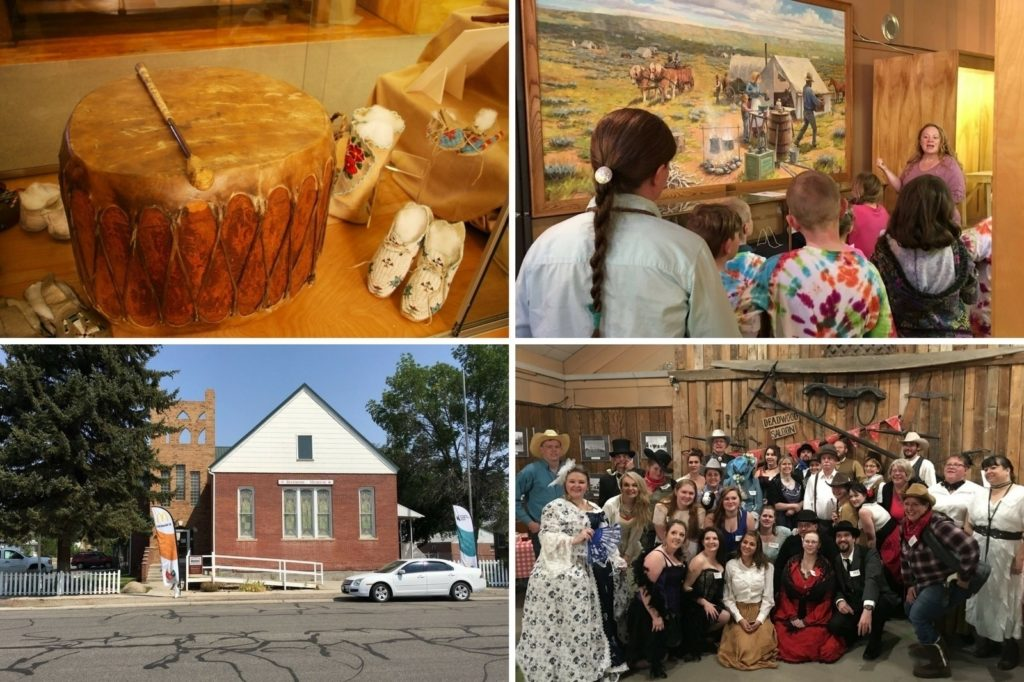 Collage of museum exhibits and events