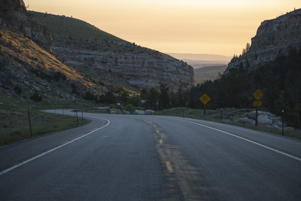 The road down Sinks Canyon State Park at dusk.