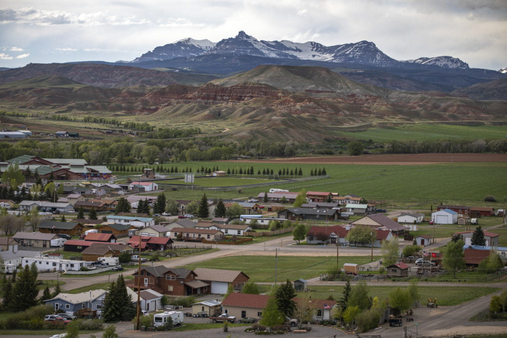 Dubois, Wyoming, and surrounding mountain ranges