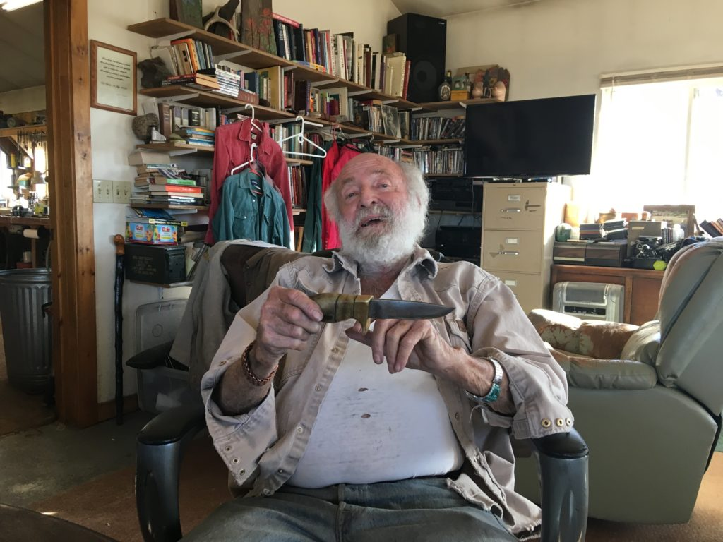 Ed Fowler talks about one of his knives in his home.