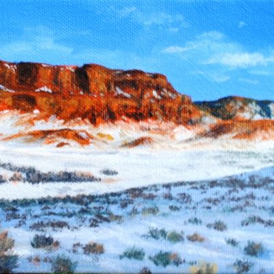 painting of red cliffs by Bill Yankee