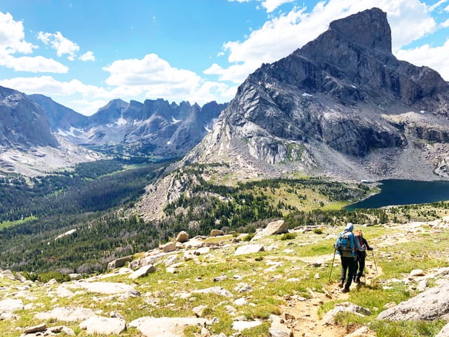 Two hikers high in the Wind River Mountains
