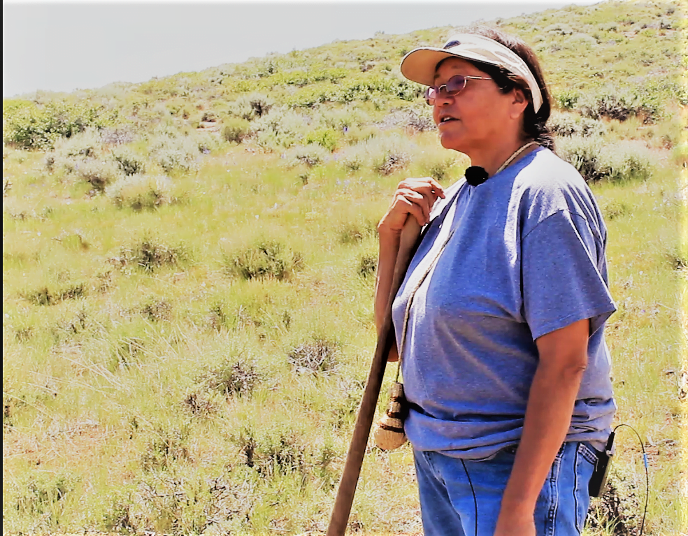 Native American woman speaks to her peers about edible plants on the Wind River Reservation and beyond