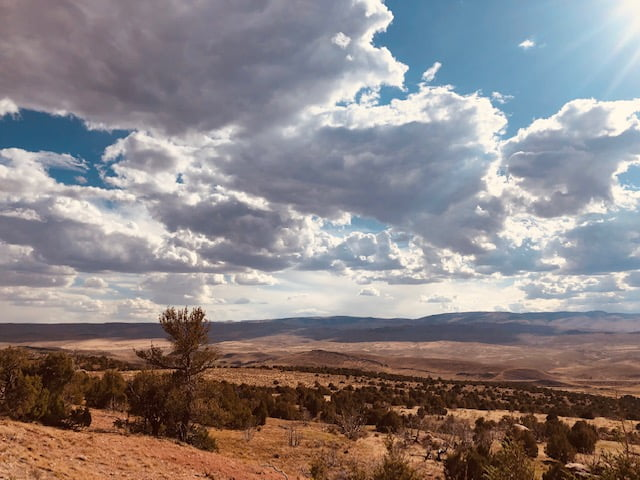 View of Wind River Country from Red Ridge at JBR in Wyoming